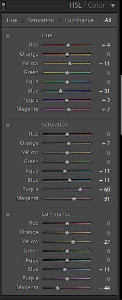 korekta kolorów lightroom barwa nasycenie
