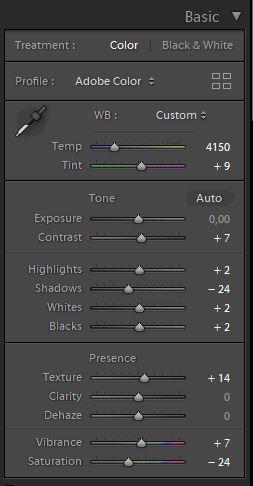 korekta kolorów w lightroomie ustawienia podstawowe